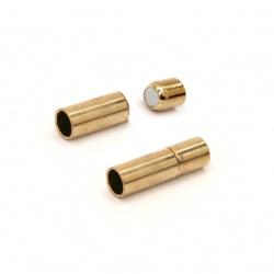 Μαγνητικό κούμπωμα κύλινδρος 17x5 mm τρύπα 3,5 mm Χρυσό
