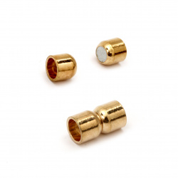 Μαγνητικό κούμπωμα κύλινδρος 14x8 mm τρύπα 5.5 mm Χρυσό