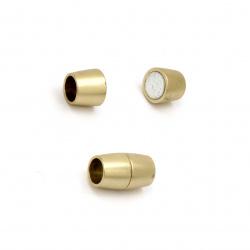 Закопчалка магнитна 15.5x9 мм дупка 6 мм цвят злато