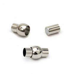 Закопчалка магнитна 18x10 мм дупка 5.5 мм цвят сребро