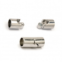 DIY Magnetic Clasp Jewellery Making 20x9 mm hole 7 mm color silver