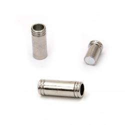 Закопчалка магнитна 19x8 мм дупка 4.5 мм цвят сребро