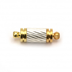 Μαγνητικό κούμπωμα κύλινδρος 16x5 mm τρύπα 1 mm χρυσό και ασήμι