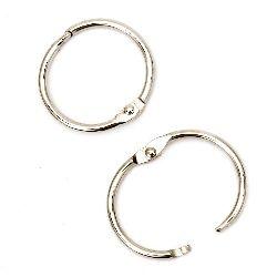 Hinged Rings, Lock, Silver 30x3mm , 4 pcs