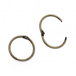 Album Hinged Ring 38x3 mm antique bronze color lock -4 pieces