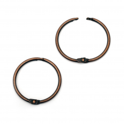 Hinged Rings 38x3 mm, antique copper - 4 pieces