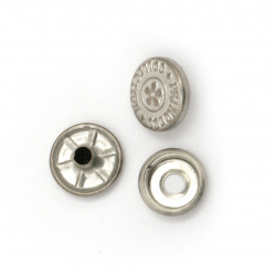 Metal Buckle Tick Tock circle 14x4 ~ 7 mm hole 4 mm color silver 4 pieces -5 sets