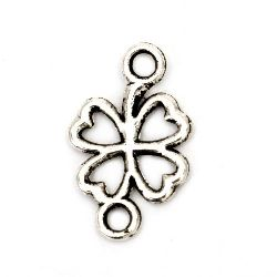 Metal jewellery making connector clover 20 x 12 x 1 mm