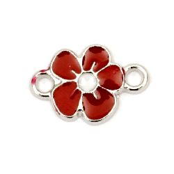 Connecting element metal flower red 15x10 mm hole 2 mm color silver -5 pieces