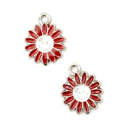 Pendant metal flower red 15x12 mm hole 2 mm color silver -5 pieces