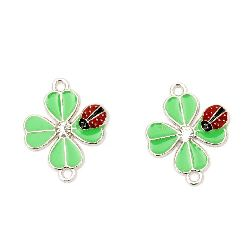 Connecting element metal with crystal clover green and ladybug 23x17 mm hole 2 mm color silver -2 pieces