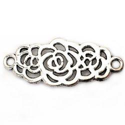 Element de legătură floare metalică 34x14x1 mm gaură 2 mm culoare argint vechi -5 bucăți