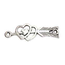 Свързващ елемент метал сърца и стрела 13x39x1.5 мм дупка 2 мм цвят старо сребро -4 броя