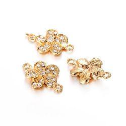 Element de legătură din metal cu floare de cristal 25x17x4 mm orificiu 2 mm culoare aur