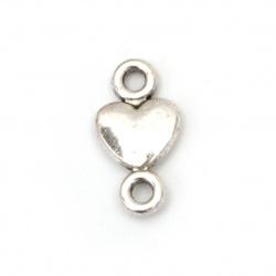 Свързващ елемент метал сърце 15x8x2 мм дупка 2 мм цвят старо сребро -20 броя