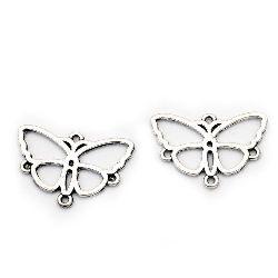 Свързващ елемент метал пеперуда 17x24x1.5 мм дупка 1.5 мм цвят старо сребро -10 броя
