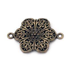 Свързващ елемент метал цвете 41x28x2.5 мм дупка 2.5 мм цвят антик бронз -2 броя