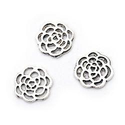 Σύνδεσμος  μεταλλικός τριαντάφυλλο 15,5x16x1,5 mm παλαιωμένο ασήμι -10 τεμάχια