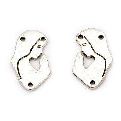Свързващ елемент метал 25x15x2 мм дупка 1.5 мм цвят старо сребро -5 броя