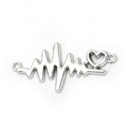 Свързващ елемент метал сърце кардиограма 31x16x2 мм дупка 1.5 мм цвят сребро -2 броя