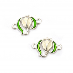 Connecting element metal tiny snowdrop white and green 20x14.5x3.5 mm hole 1.5 mm color silver - 5 pieces