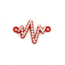 Свързващ елемент метал с кристали кардиограма 23x15x2.5 мм дупка 1.5 мм червен-2 броя