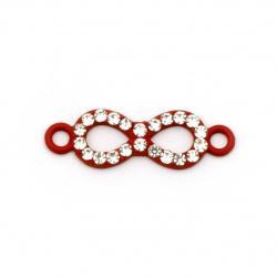 Element de legătură metalic cu cristale infinite 22,5x7x2 mm orificiu 1,5 mm roșu-2 bucăți