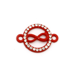 Свързващ елемент метал с кристали безкрайност 23x16x3 мм дупка 1.5 мм червен-2 броя