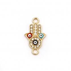 Свързващ елемент метал с кристали ръката на Фатима с очи 24x14x3 мм дупка 1.5 мм злато-2 броя