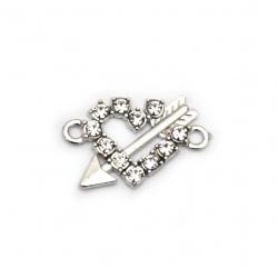 Element de legătură metalic cu cristale inima cu săgeată gaură 22x17x2 mm 1,5 mm argintiu -2 bucăți
