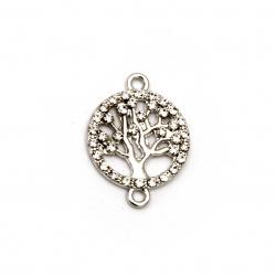 Свързващ елемент метал с кристали дървото на живота 23x17x2 мм дупка 1.5 мм сребро -2 броя
