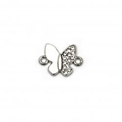 Свързващ елемент метал с кристали пеперуда 18x13x2 мм дупка 1.5 мм сребро -2 броя