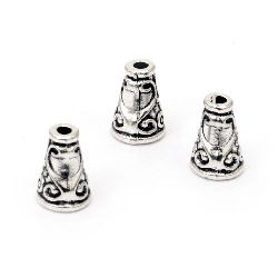 Мънисто метал шапка 10x8 мм дупка 2 мм цвят старо сребро -10 броя