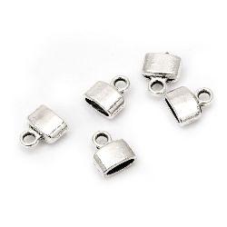 Pălăria metalică / vârful perlă 9x4x8 mm gaură 2 mm și 2x6 mm culoare argintiu -20 bucăți
