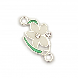 Delicate metal connecting element flower with crystals 22x11x1.5 mm hole 2 mm color silver - 5 pieces