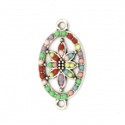 Connecting metal element oval with flower and colorful pebbles 28x15x2.5 mm hole 2 mm color silver - 2 pieces