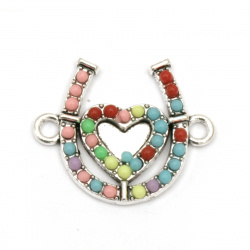 Connecting metal element horseshoe with heart and pebbles 18x21.5x3 mm hole 2 mm color silver - 2 pieces