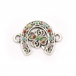Connecting metal horseshoe with clover and color pebbles 15x20x2.5 mm hole 2 mm color silver - 2 pieces