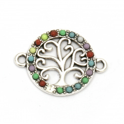 Fastener metal tree of life, round with colorful pebbles 24x18x2.5 mm hole 2 mm color silver - 2 pieces