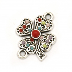 Connecting element,  metal clover with colorful pebbles 21.5x15.5x2.5 mm hole 2 mm color silver - 2 pieces