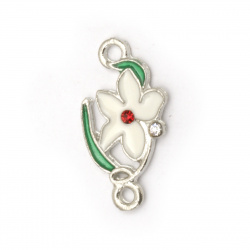 Dyed metal connecting element flower with crystals 22x11.5x2 mm hole 2 mm color silver - 5 pieces