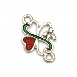 Metal connecting element four-leaf clover 21x13x2 mm hole 2 mm color silver - 5 pieces