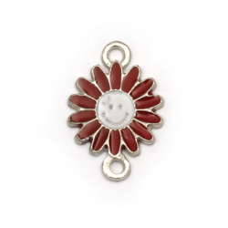 Connecting metal element, red flower with smiling face 18.5x13x1.5 mm hole 2 mm color silver - 5 pieces