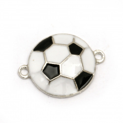 Fastener metal soccer ball white and black 24x18x4 mm hole 2 mm color silver - 2 pieces