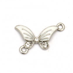Delicate connecting metal element with crystals, white butterfly 25x19x3 mm hole 2 mm color silver - 5 pieces