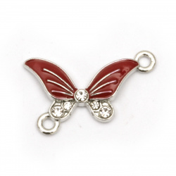 Red butterfly connecting metal element with crystals for jewelry making  25x19x3 mm hole 2 mm color silver - 5 pieces