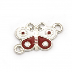 Fastener metal butterfly white and red 20x14x1.5 mm hole 2 mm color silver - 2 pieces