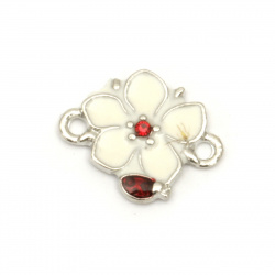 Connecting metal element flower with tiny crystals, white and red 17.5x14x2.5 mm hole 2 mm color silver - 5 pieces
