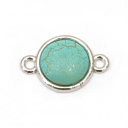 Свързващ елемент метал кръг син със златна нишка 19x13x4 мм дупка 2 мм цвят сребро -5 броя