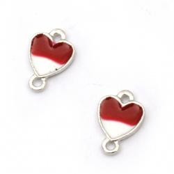 Свързващ елемент метал сърце бяло и червено 10x7x1.5 мм дупка 1.5 мм цвят сребро -5 броя